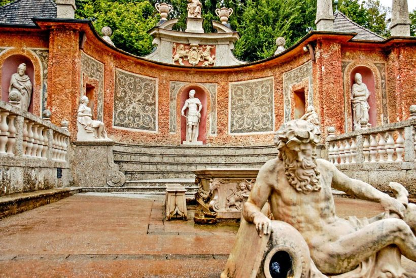 Fountain in 400 year old water games castle of Schloss Hellbrunn located in a Southern district of Salzburg, Austria.