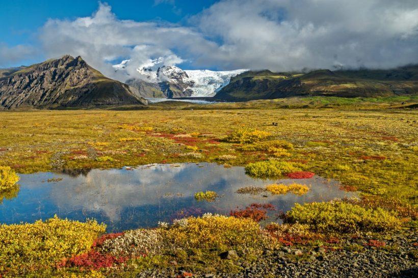 Farbenprächtige Herbst-Landschaft im Skaftafell Nationalpark, Südisland
