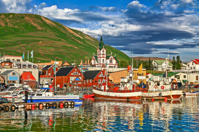 Historic town of Husavik at sunset, Iceland
